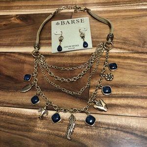 Barse Boho Layered Necklace Earring Set Lapis NWOT